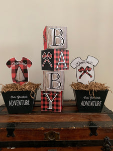 Outdoor adventure Baby Shower Block Centerpiece