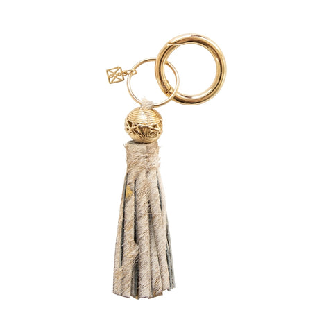 Metallic Cream Cowhide Keychain