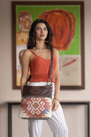 Heartland Leather and Canvas bag by Myra B