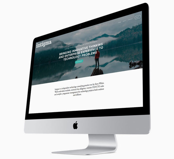Intigma - a business name case study on apple screen