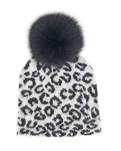 Animal Print Fox Pom Pom Hat