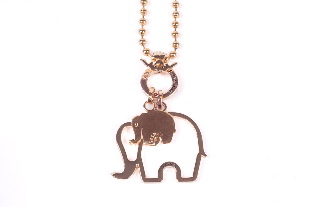 Gold Mommy and Me Elephant Necklace