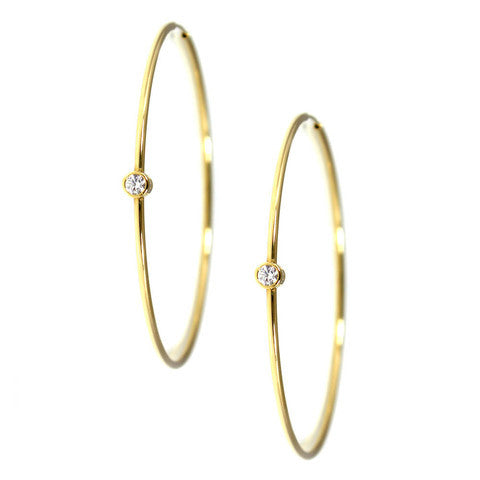 Single Bezel Hoop Earrings