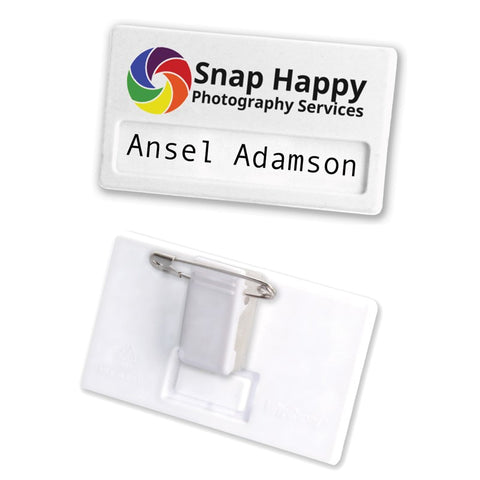 Recycled Plastic Name Badge with Combi Clip