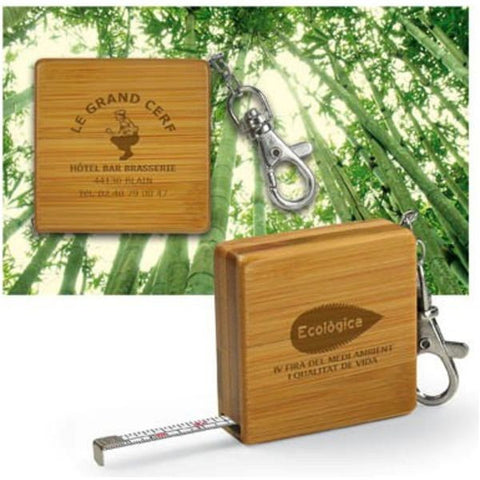 Bamboo Tape Measure Keyrings - Adband