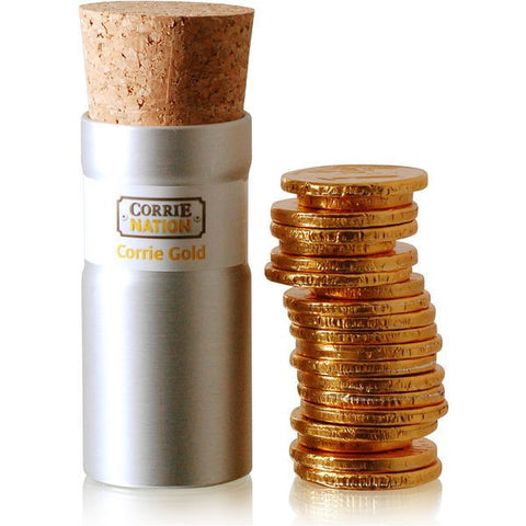corked tube of chocolate coins sample | Adband