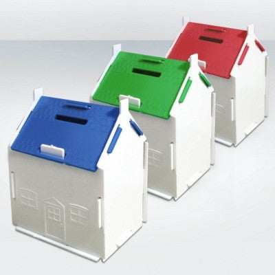 recycled house shape money box | Adband