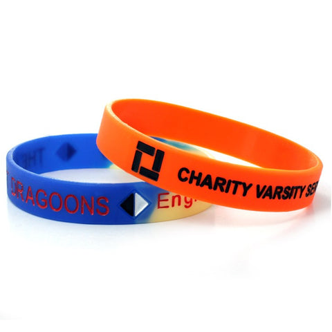 debossed ink infilled silicone wristbands | Adband