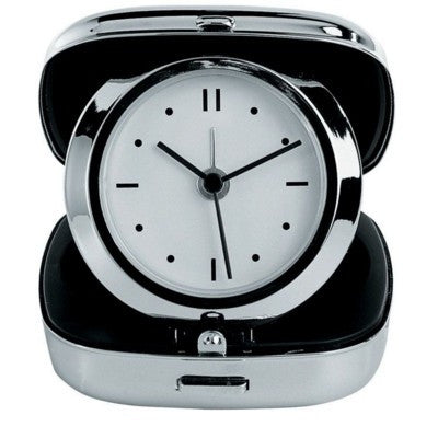 silver chrome travel alarm clock | Adband
