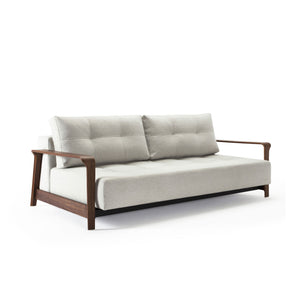 Movie Night Sofa Bed / Wood Arms (Queen) - Natural Tweed