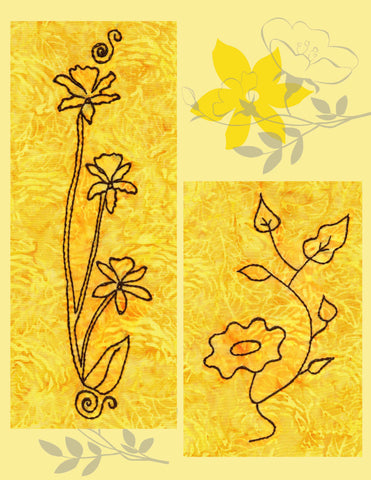 Flower Field embroidery design pattern download includes a trio orchid on long stems with flourishes and a sunflower with five leaves.  Perfect for embroidery on jeans.