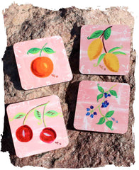 Pink fruit Jubilee drink coasters set of four for sale