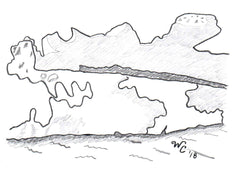 Black and white drawing graphic of melting glacier ice by Wendy Christine.