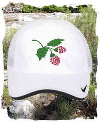 White Nike golf hat with fruit raspberries for sale at Raspberry Lane Crafts