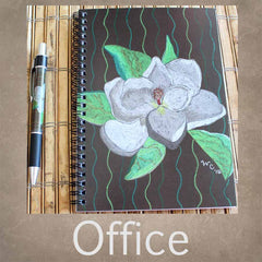 Office and School Supplies for Sale from The Art of Wendy Christine. Spiral Notebooks, 3-Ring Binders, and Pens to Purchase.