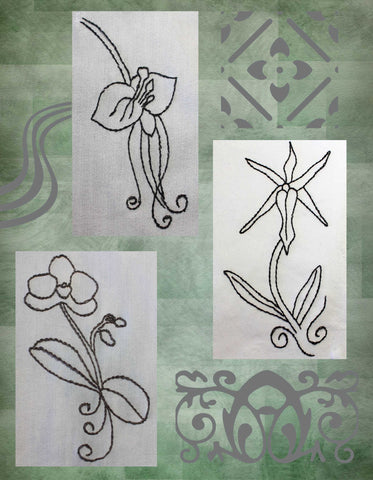 Three orchid embroidery designs for jeans by Wendy Christine