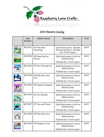 Free Mail-In Catalog for Raspberry Lane Crafts Quilt and Cross Stitch Patterns