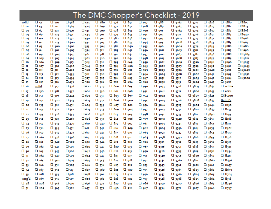 DMC Shopper's Checklist 2019