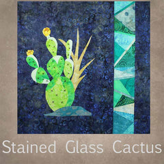 Stained Glass Cactus Collection Four 16-Inch Quilt Block Patterns