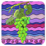 Green Grapes on Purple Drink Coasters for Sale at Raspberry Lane Crafts