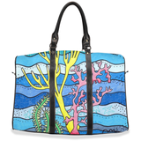 Coral Island blue airplane bag for sale.  The Art of Wendy Christine.