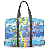 Ocean blue coral travel bag with straps and zipper for sale.  Raspberry Lane Home Collection.