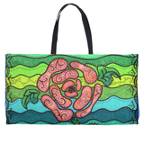 Blue Stone Weekender Bag with Black Cotton Web Handles for Sale.  Gorgeous Art Bag featuring Pink Rose Flower on Green and Blue.  For Sale in Raspberry Lane Home Collection