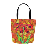Clementine Tote Bag by Wendy Christine for Sale at Raspberry Lane Crafts features a red flower on orange in stained glass design.