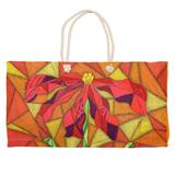 Clementine Weekender Tote by Wendy Christine for Sale features stained glass red flower on orange.  Raspberry Lane Crafts