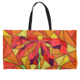 Orange Weekend Tote Bag with Red Flower for Sale