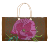 Pink Blush Peony Flower Weekender Tote Bag in Brown for Sale from The Art of Wendy Christine