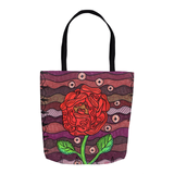 Red Flower on Plum Purple Bag for Sale