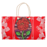 Plum Wine Red Design Weekender Bag from The Art of Wendy Christine features a Red Rose on Burgundy on a Red Flowery Bag for Sale