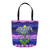 18 x 18 inch purple tote bag featuring Southwest flower for sale from Raspberry Lane Home Collection