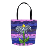 Purple Flower Tote Bag for sale 16 x 16 inches.  Great Price to Buy at Raspberry Lane Crafts.