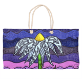 Grapesugar Weekender Bags are purple with a flower on sale at Raspberry Lane Crafts