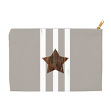Brown star with white stripes gray zipper bag for sale at Raspberry Lane Crafts