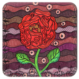 Plum Wine Drink Coaster in Set of Four features Southwest Red Rose for Sale from The Art of Wendy Christine