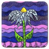 Grapesugar Drink Coaster features a purple design in a set of four Flower Coasters from The Art of Wendy Christine