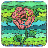 Blue Stone Flower Drink Coaster in Set of Four Coasters for Sale at Raspberry Lane Crafts