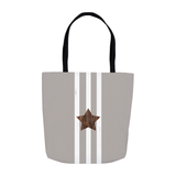 Taupe Star Tote Bag features a brown star with white stripes on gray bag.  For Sale at Raspberry Lane Crafts.