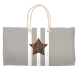 Brown star with white stripes gray bag with rope handles for sale from The Art of Wendy Christine