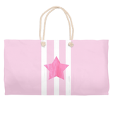 Pink Star Weekender Bag with White Rope Handles for Sale at Raspberry Lane Crafts