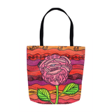 Mission Rose Tote Bag features a pink rose on bright orange, red, yellow and green.  The Art of Wendy Christine. For sale at Raspberry Lane Crafts.