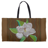 White Magnolia Flower on Brown Bag Weekender Tote for Sale from The Art of Wendy Christine
