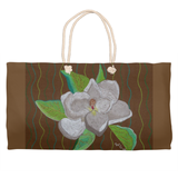 Magnolia Tree Blossom Weekender Tote Bag for women white flower tote bag with brown and green