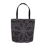 Charcoal Daisy Tote Bag features a black and white flower art print on both sides from The Art of Wendy Christine.  On sale at Raspberry Lane Crafts.