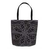 Charcoal Daisy Tote Bags feature a black and white design bag with handle.  For Sale from The Art of Wendy Christine