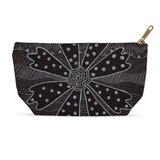 Charcoal Daisy carry-all cosmetic toiletries or pencil bag of a black and white flower with dots.  From The Art of Wendy Christine.  Purchase Buy Sale at Raspberry Lane Crafts.