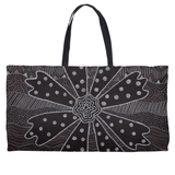 Black and White Weekender Tote Bags for Sale Flower Design from The Art of Wendy Christine